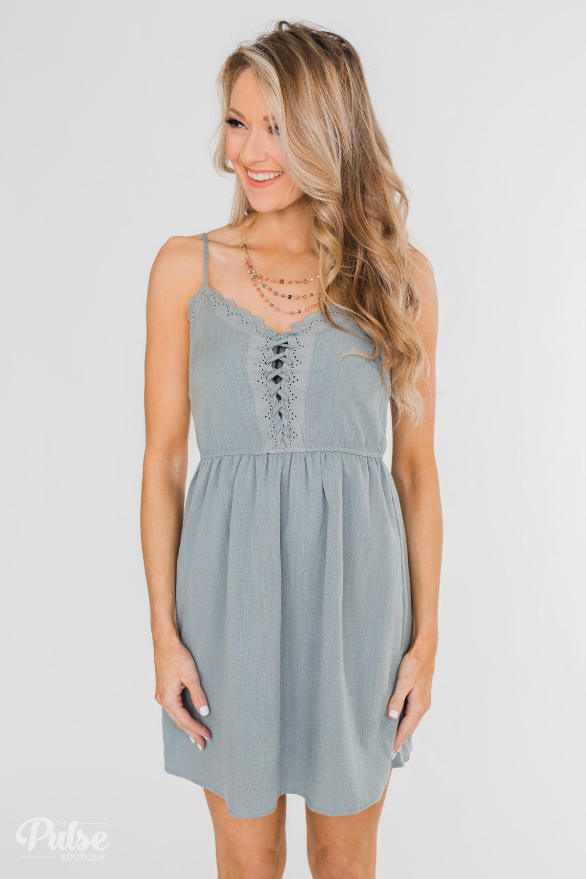 Take Me To Summer Lace Up Dress- Slate Blue