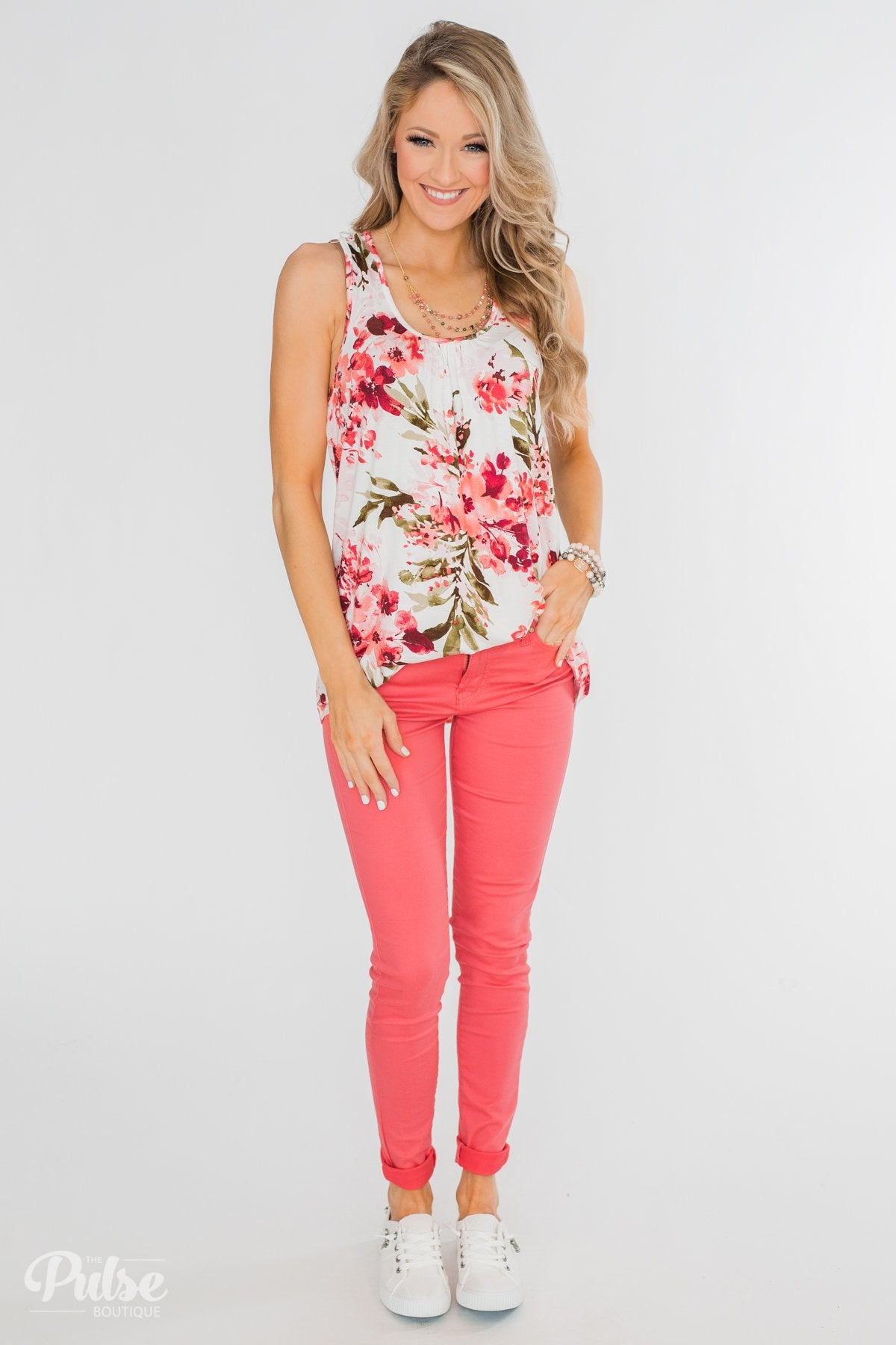 Blossom Into Love Floral Racerback Tank- Ivory