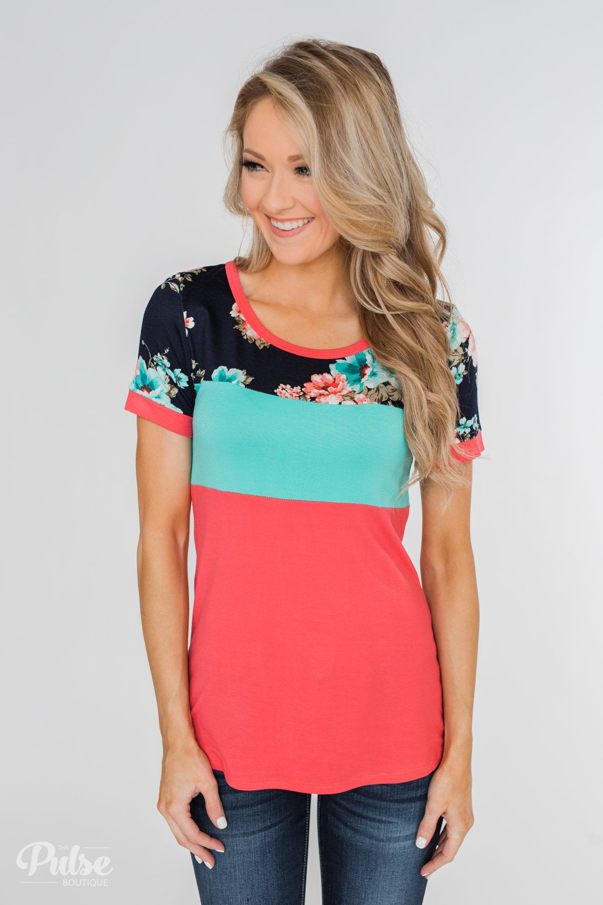 Illuminate The Room Floral Color Block Top- Dark Pink & Navy