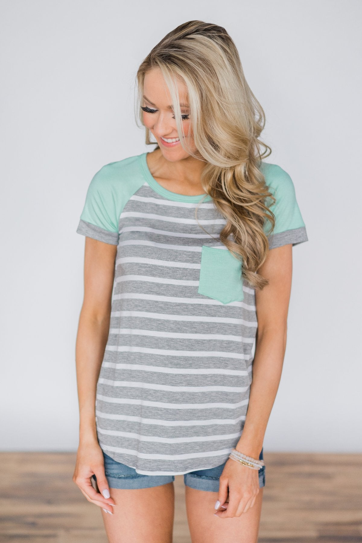 Go Right On By Striped Pocket Top ~ Mint