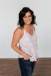 Find Your Purpose V-Neck Wrap Tank Top- Pink