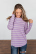 Dance With Somebody Striped Pullover Top- Lavender