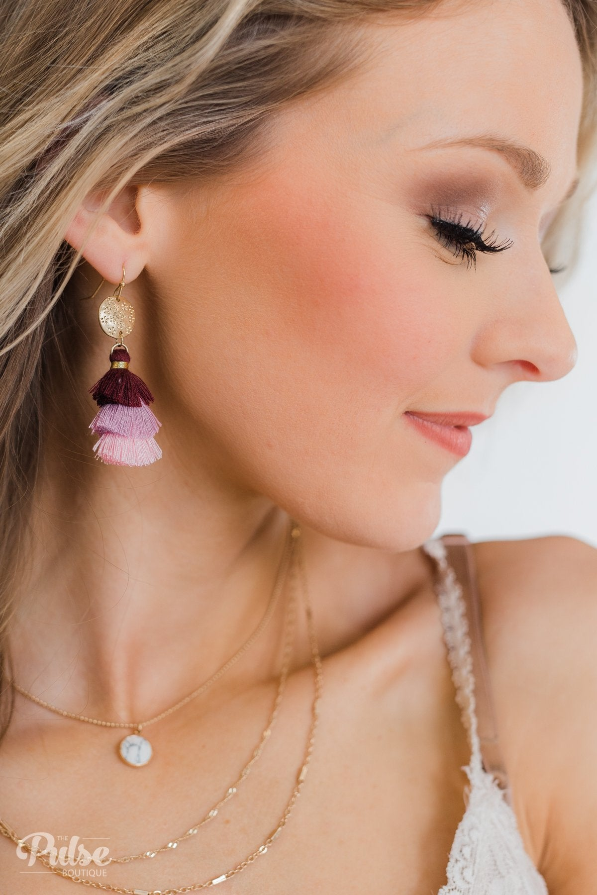 Layered Tassel Gold Earrings- Burgundy, Lilac, Pink
