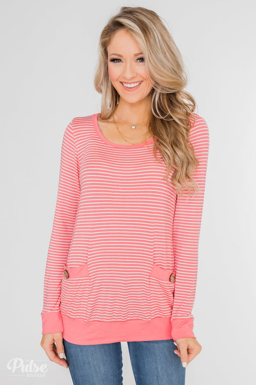 So Much In Common Striped Pocket Top- Pink