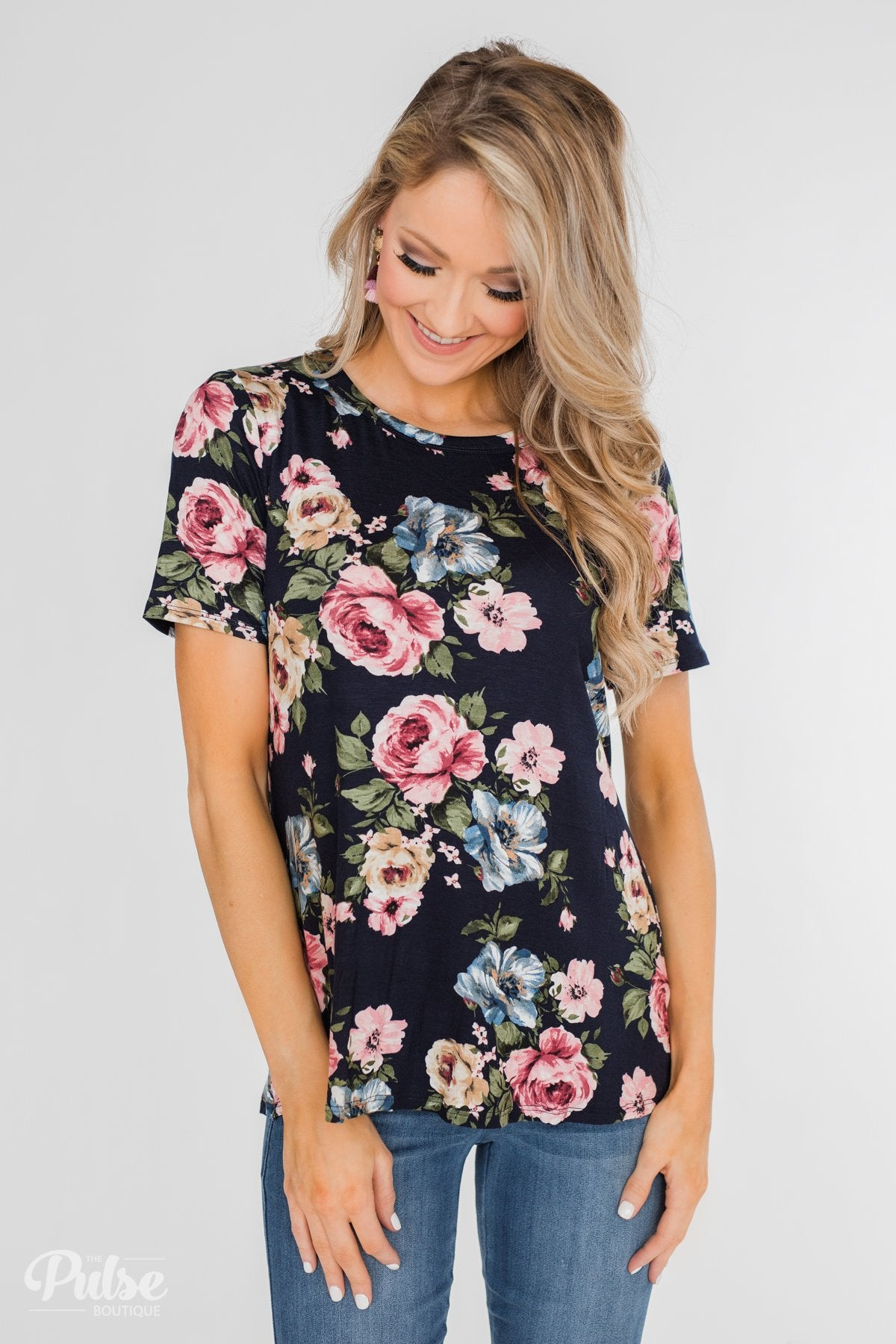 Finding The Right One Floral Short Sleeve Top- Navy