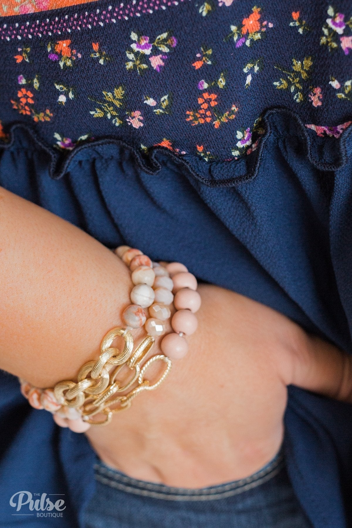 Chain & Beads Bracelet Set- Pale Pink