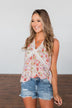 Let It Grow Floral Lace Tank Top- Light Pink
