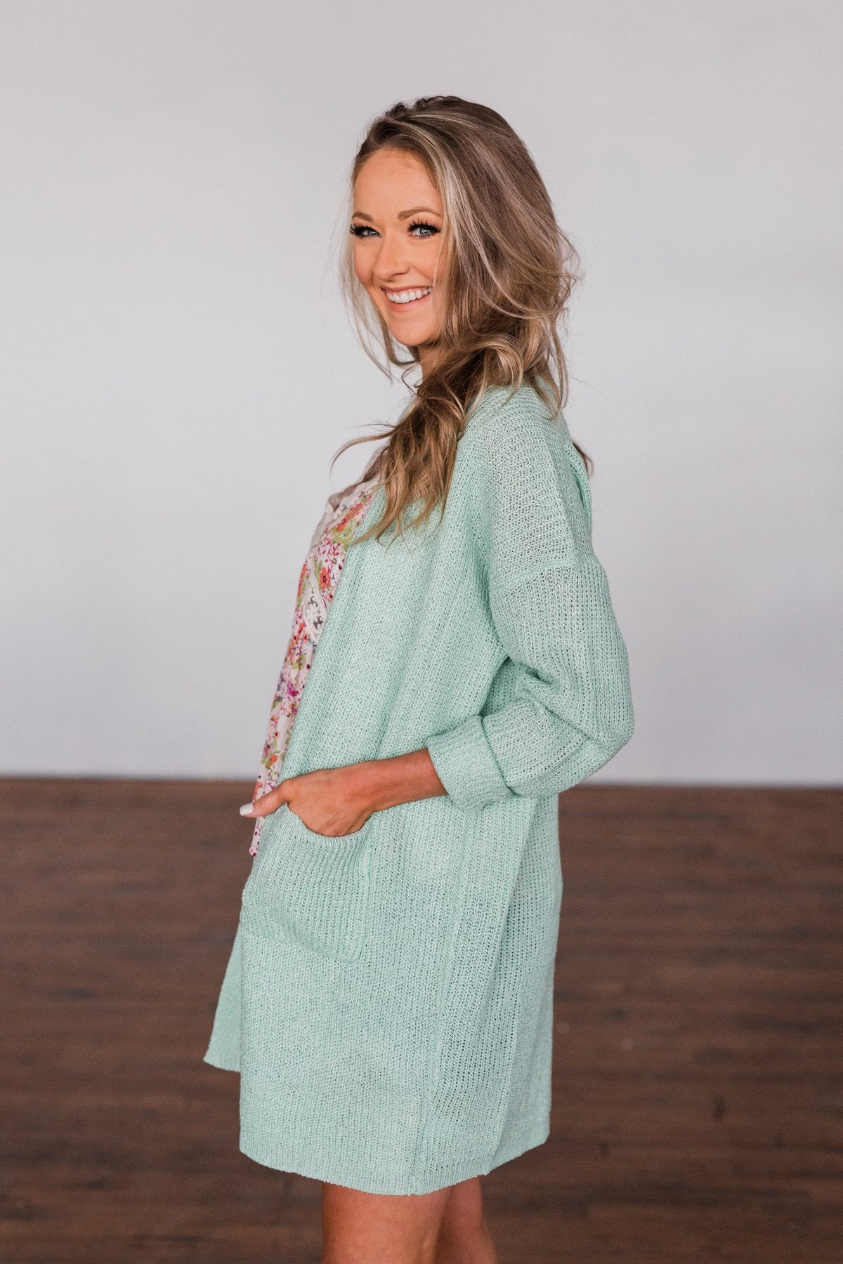 No Pressure Knitted Cardigan- Mint Green
