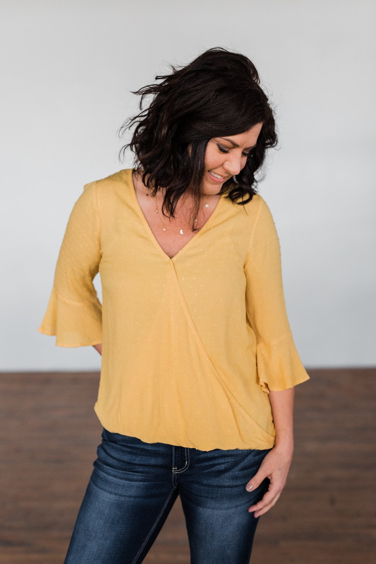 Lots Of Laughs V-Neck Wrap Top- Mustard