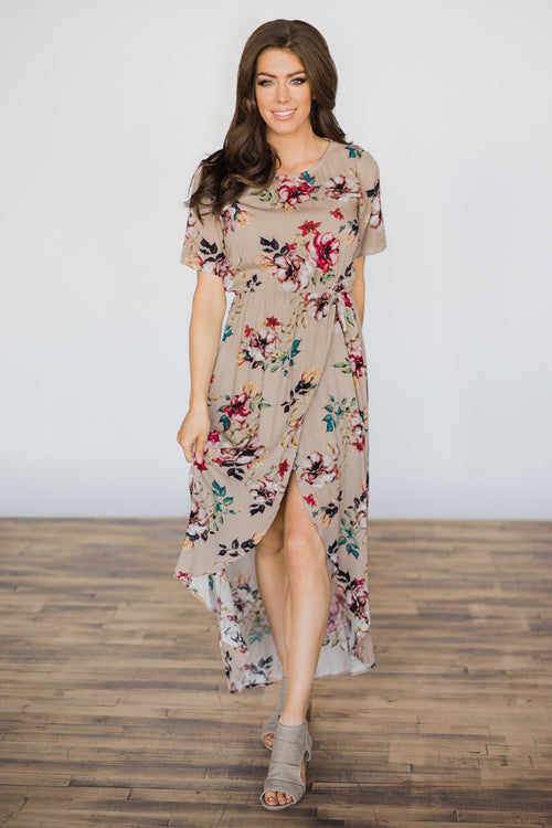 Hint of Spring Taupe Floral Maxi Dress
