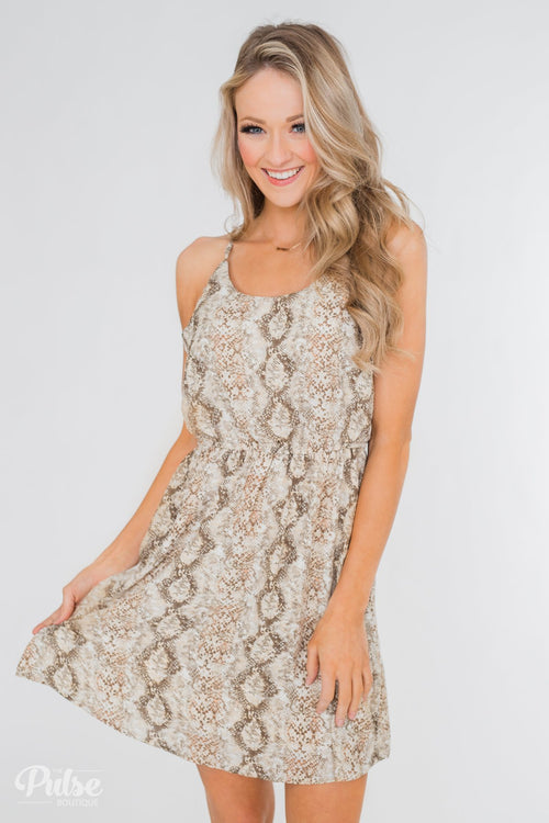 Going to be Bold Printed Dress- Beige