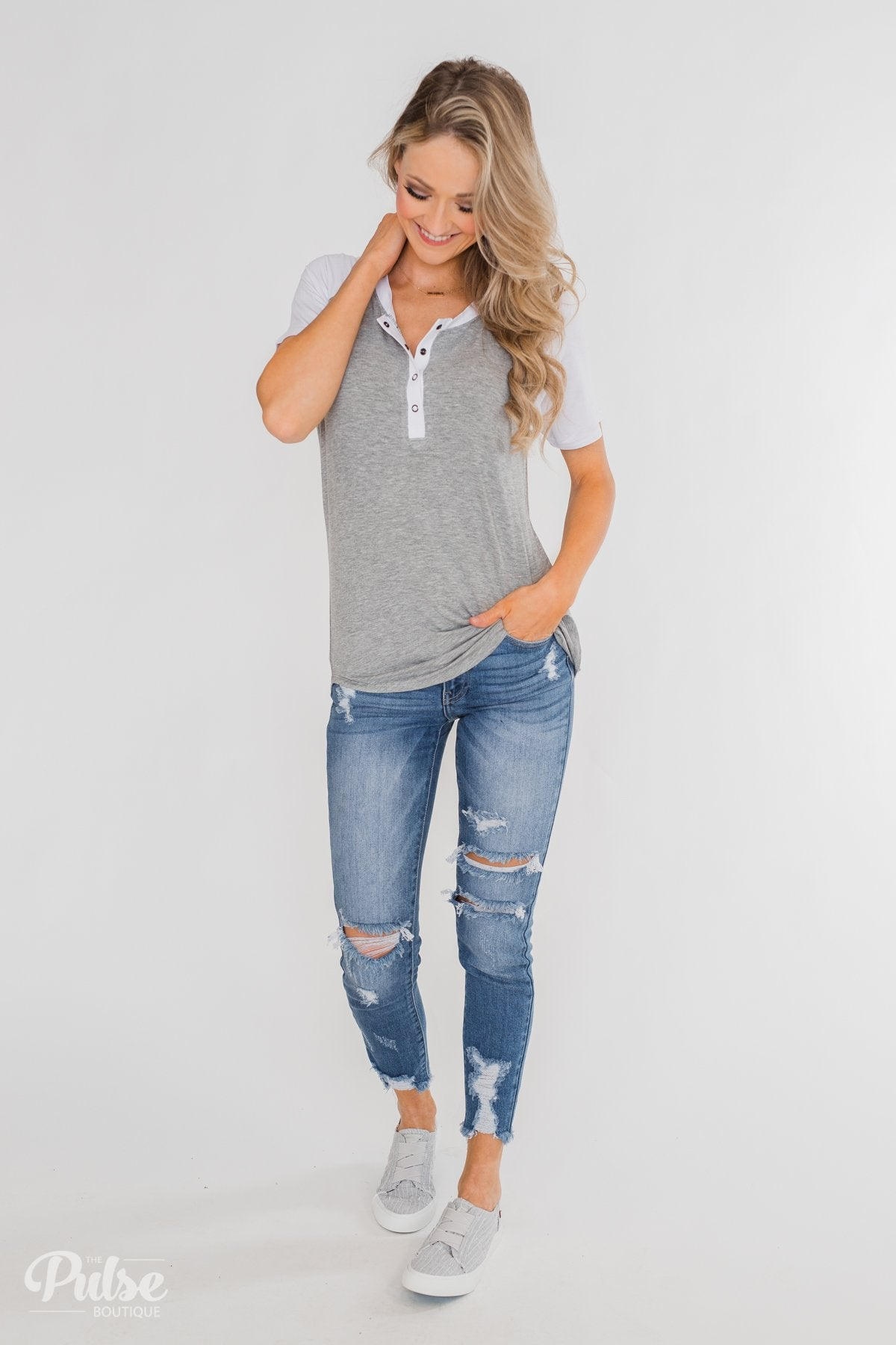 Enchanted by You Short Sleeve Raglan Top- Heather Grey & White