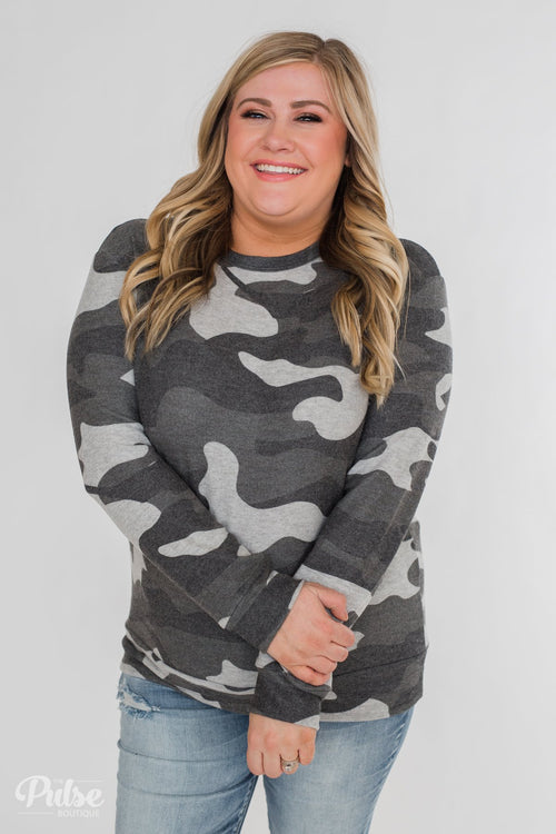 Softest Camo Pullover Top- Grey