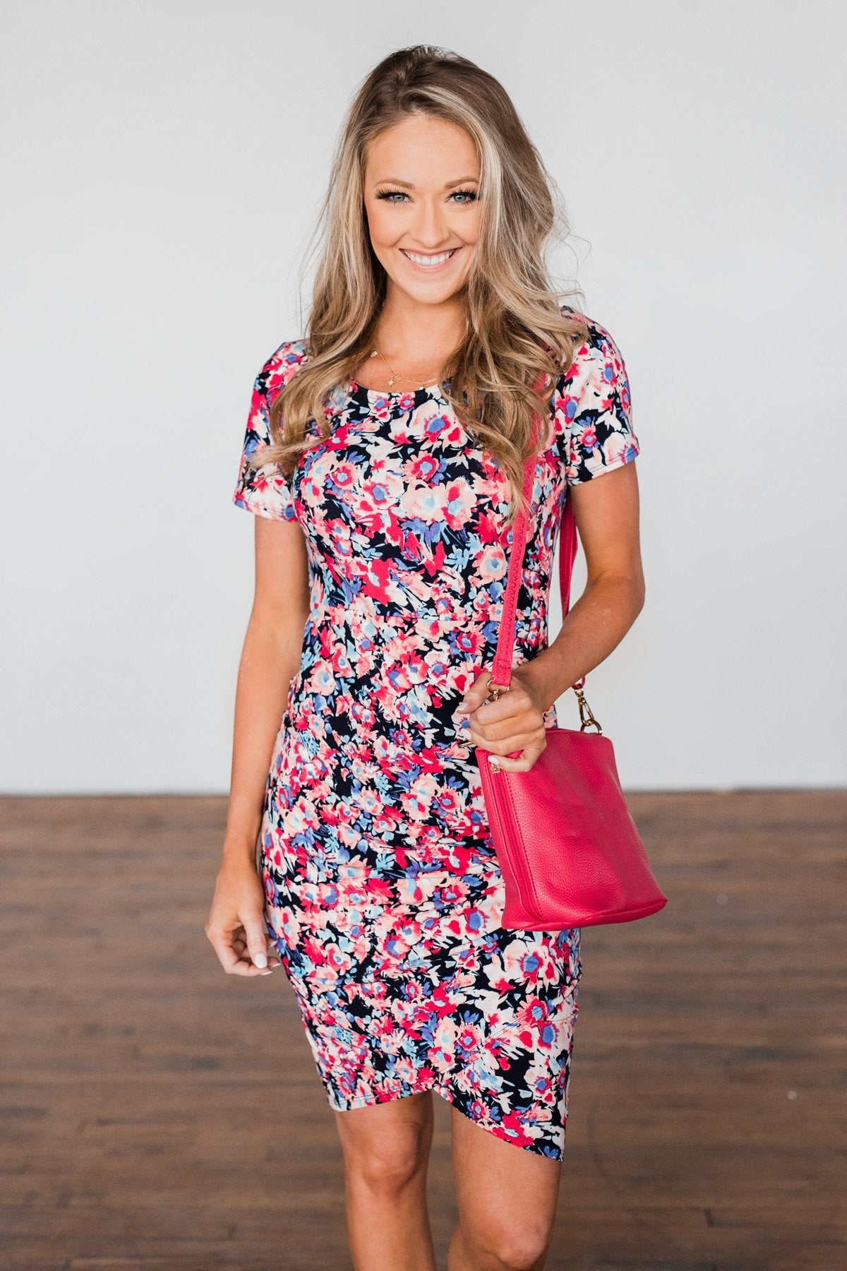 Life Is A Fairy Tale Floral Dress- Dark Navy & Pink