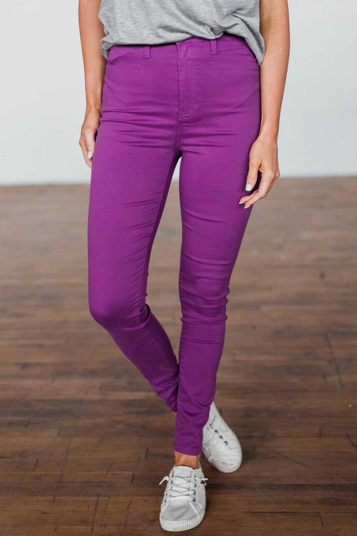 Celebrity Pink High-Rise Skinny Jeans- Purple