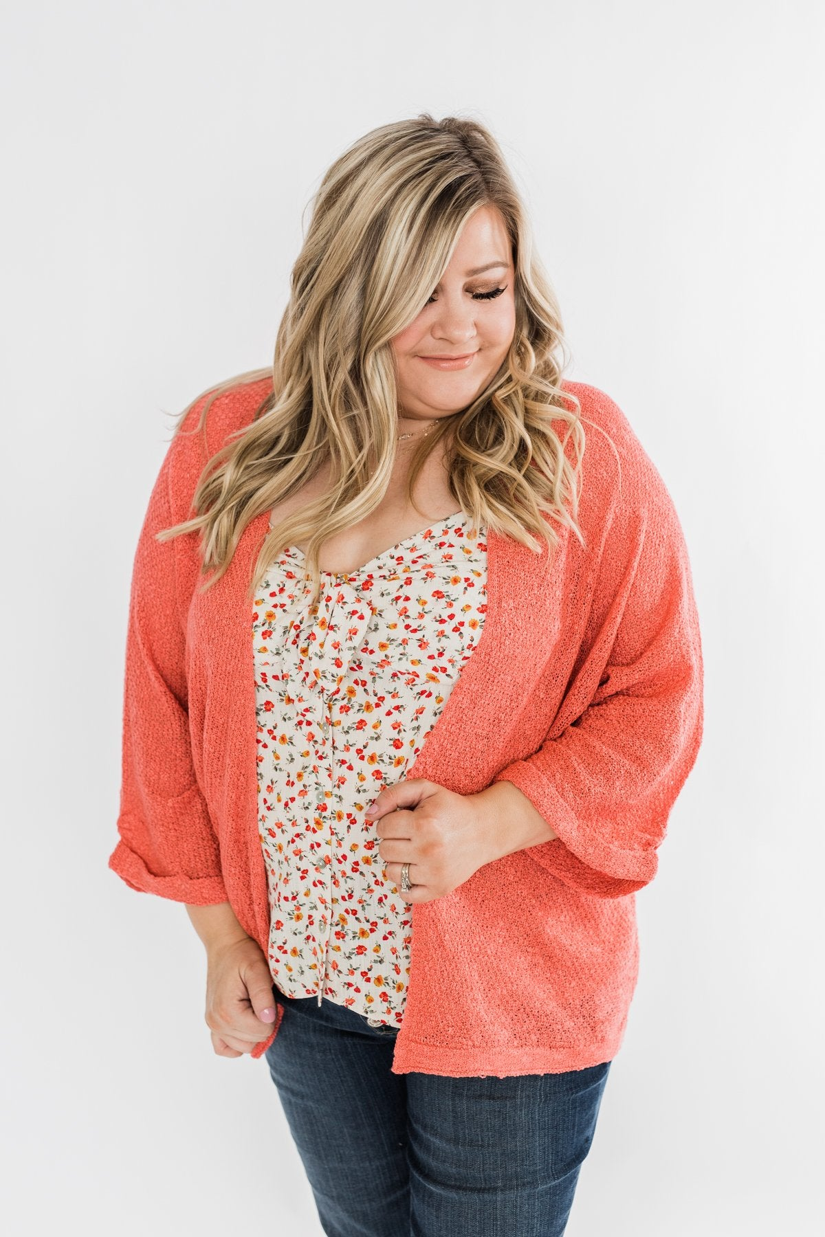 Waiting On A Miracle Knitted Cardigan- Dark Coral