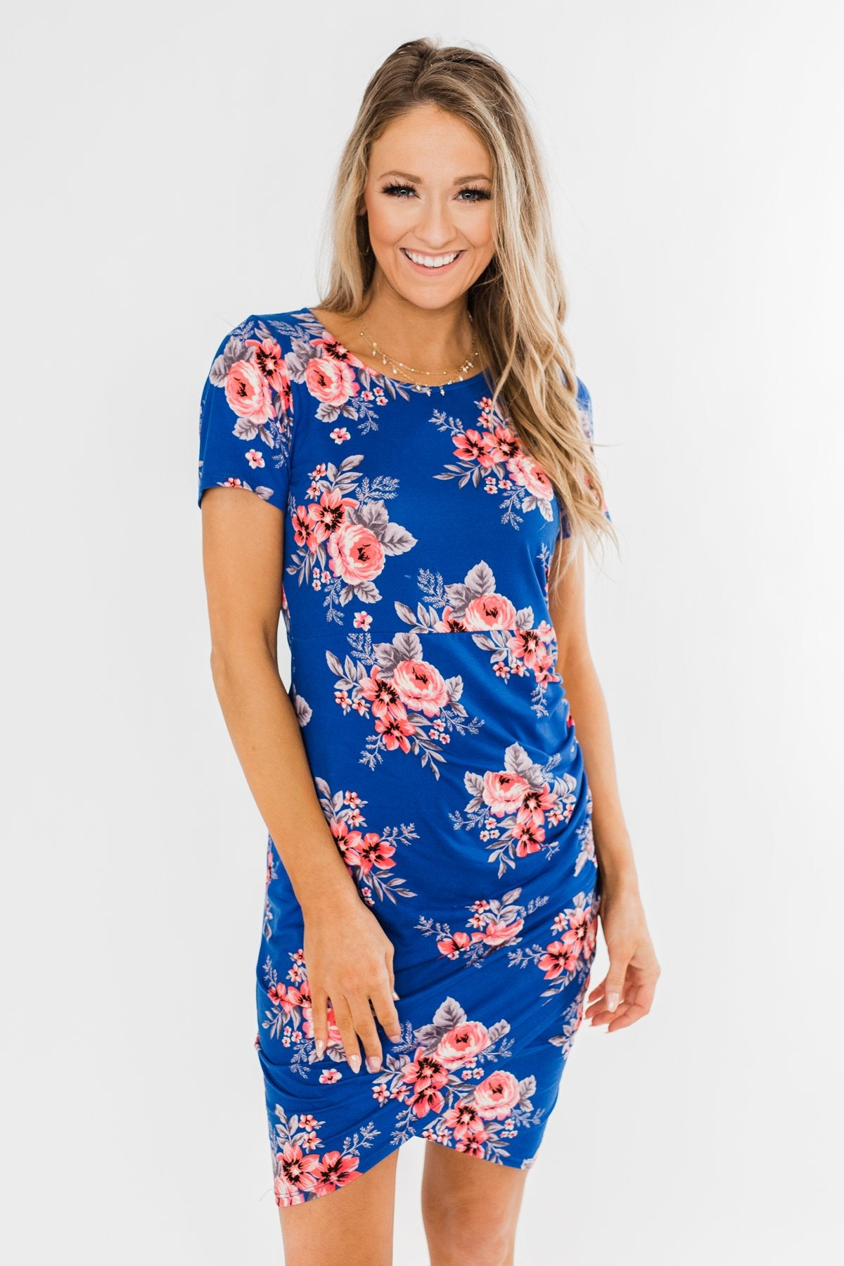 Blessed To Be Me Floral Cinched Waist Dress- Cobalt Blue