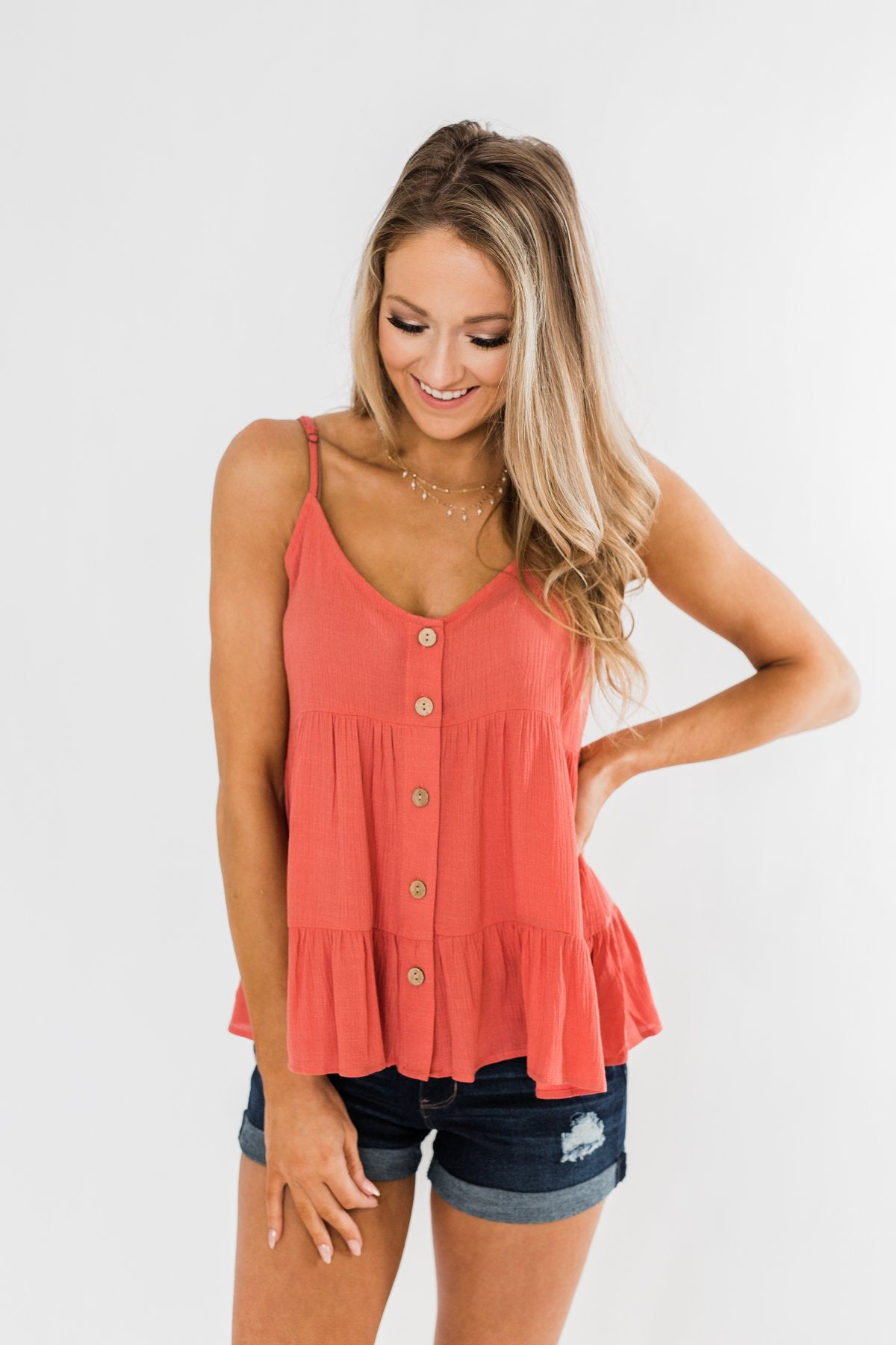 How Wonderful It Is Ruffled Button Tank Top- Deep Coral