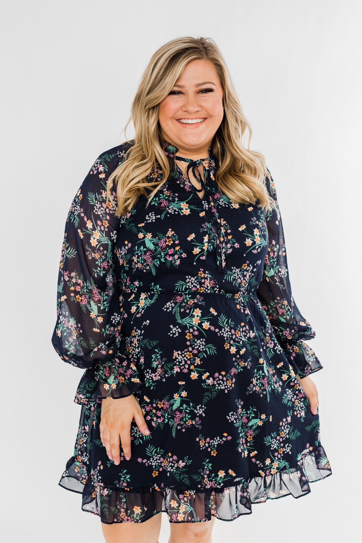 Always Be Wanted Floral Ruffle Dress- Navy