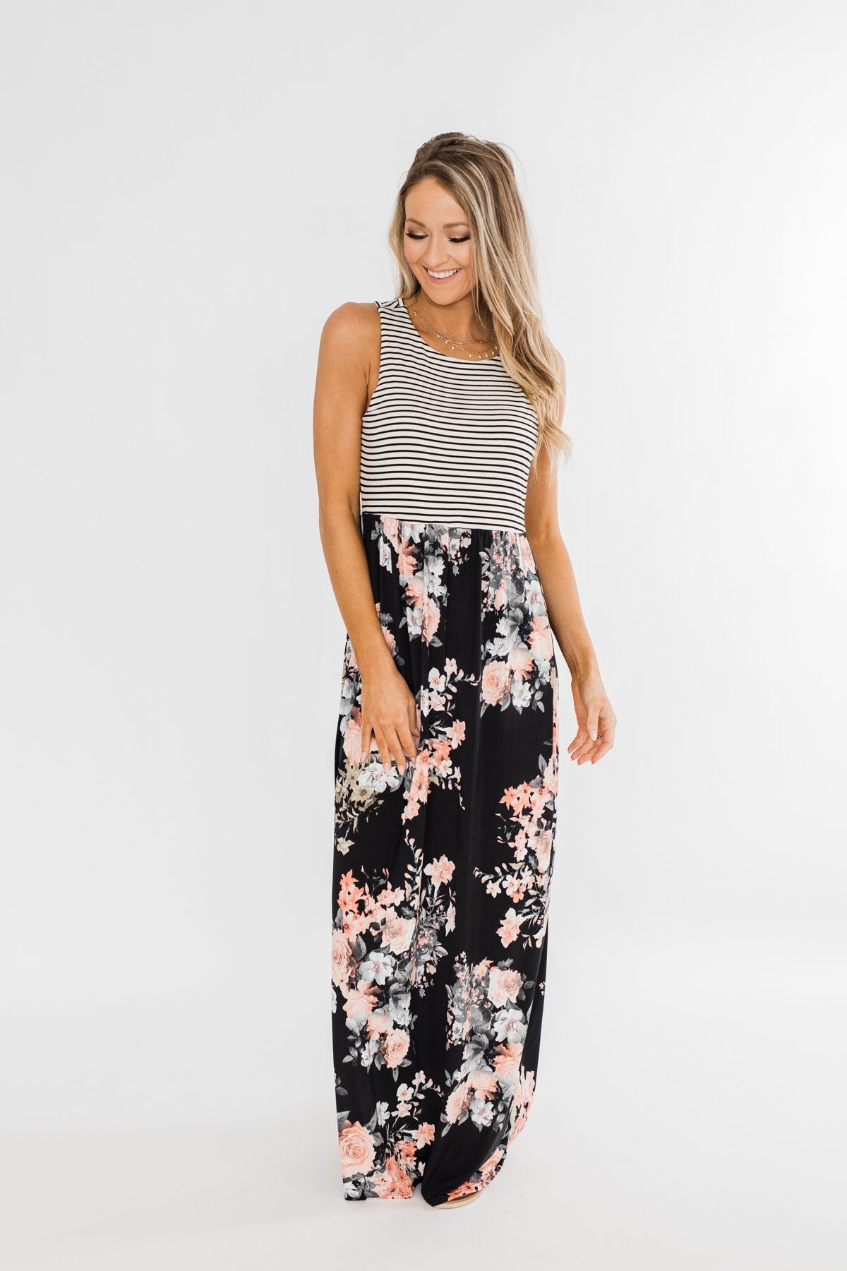 Like You Do Floral & Stripes Maxi Dress- Black & Off White