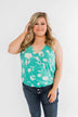 See You Smile Floral Wrap Tank Top- Turquoise