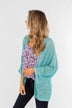 Waiting On A Miracle Knitted Cardigan- Deep Aqua Blue