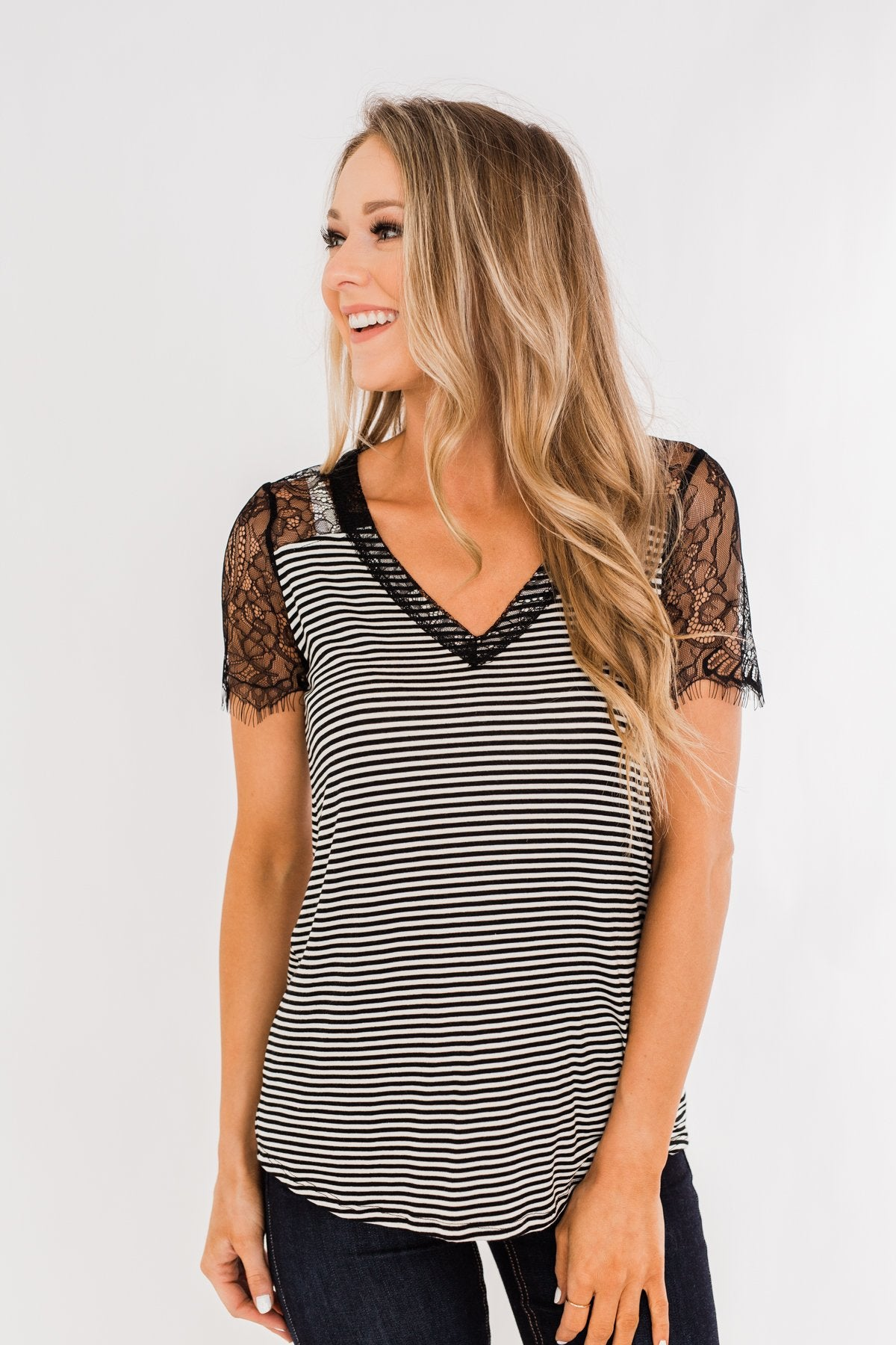 No Reason To Wait Striped Lace Top- Black