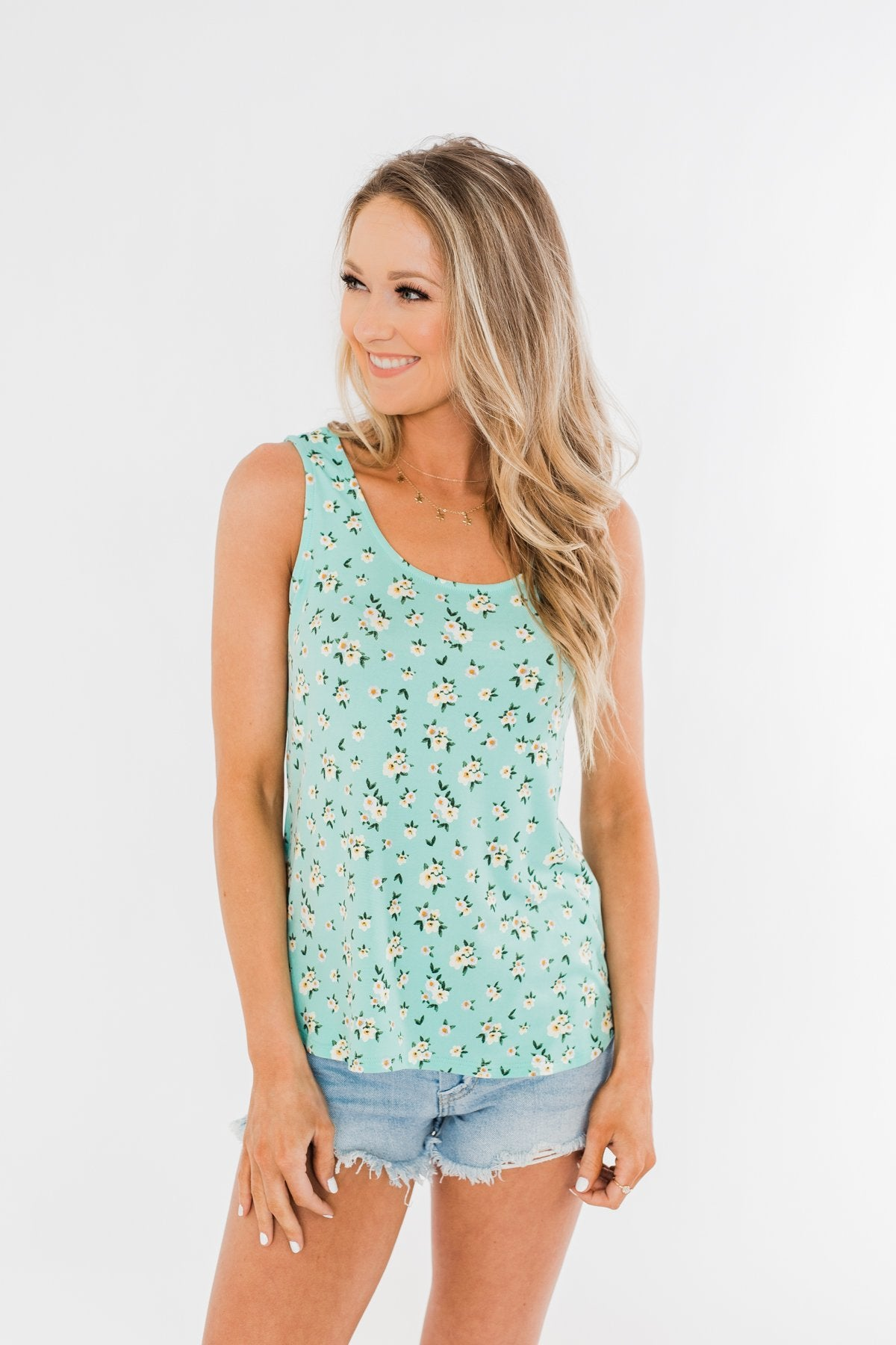 Easily Attracted Floral Tank Top- Mint