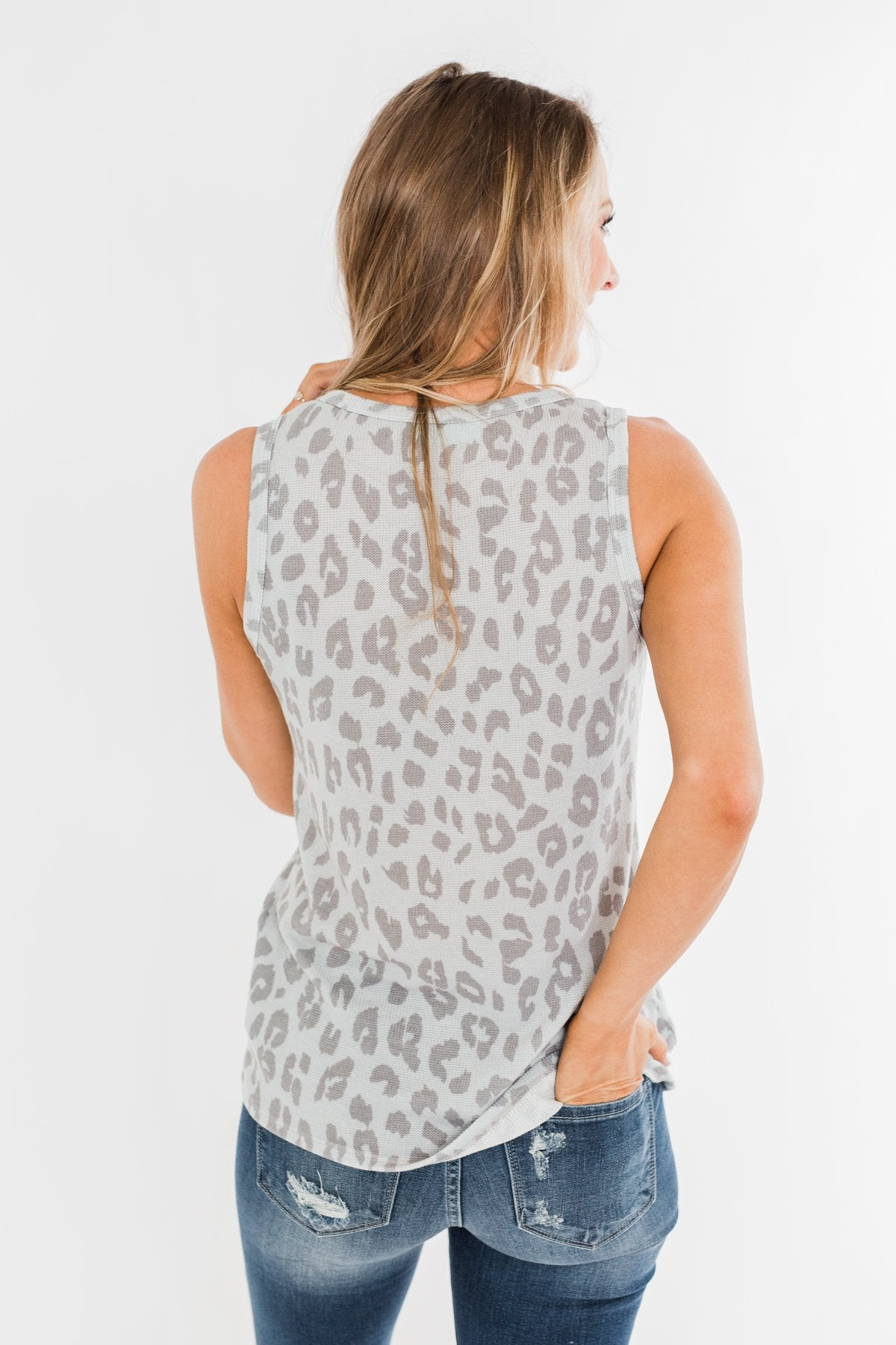 A Beautiful Journey Leopard Knit Tank- Grey