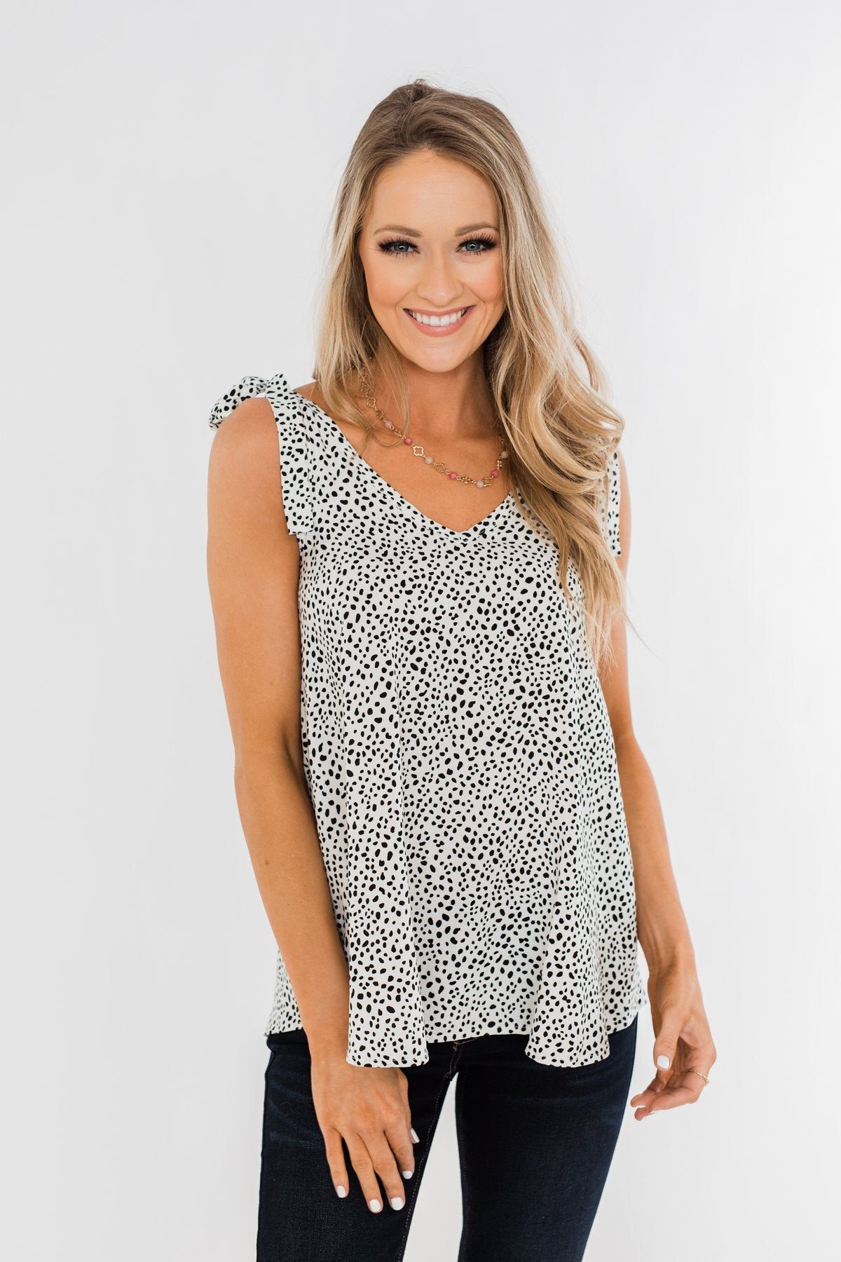 Call Of The Wild Speckled Tie Sleeve Blouse- Off White