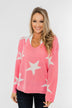 Wishing On A Star Knitted Sweater- Vibrant Pink