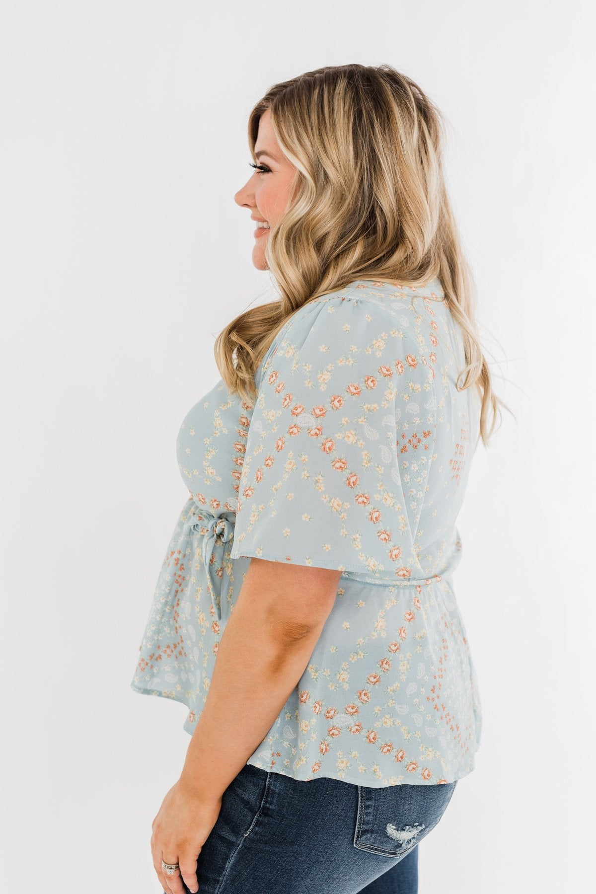 The Things You Say Floral Wrap Top- Light Blue