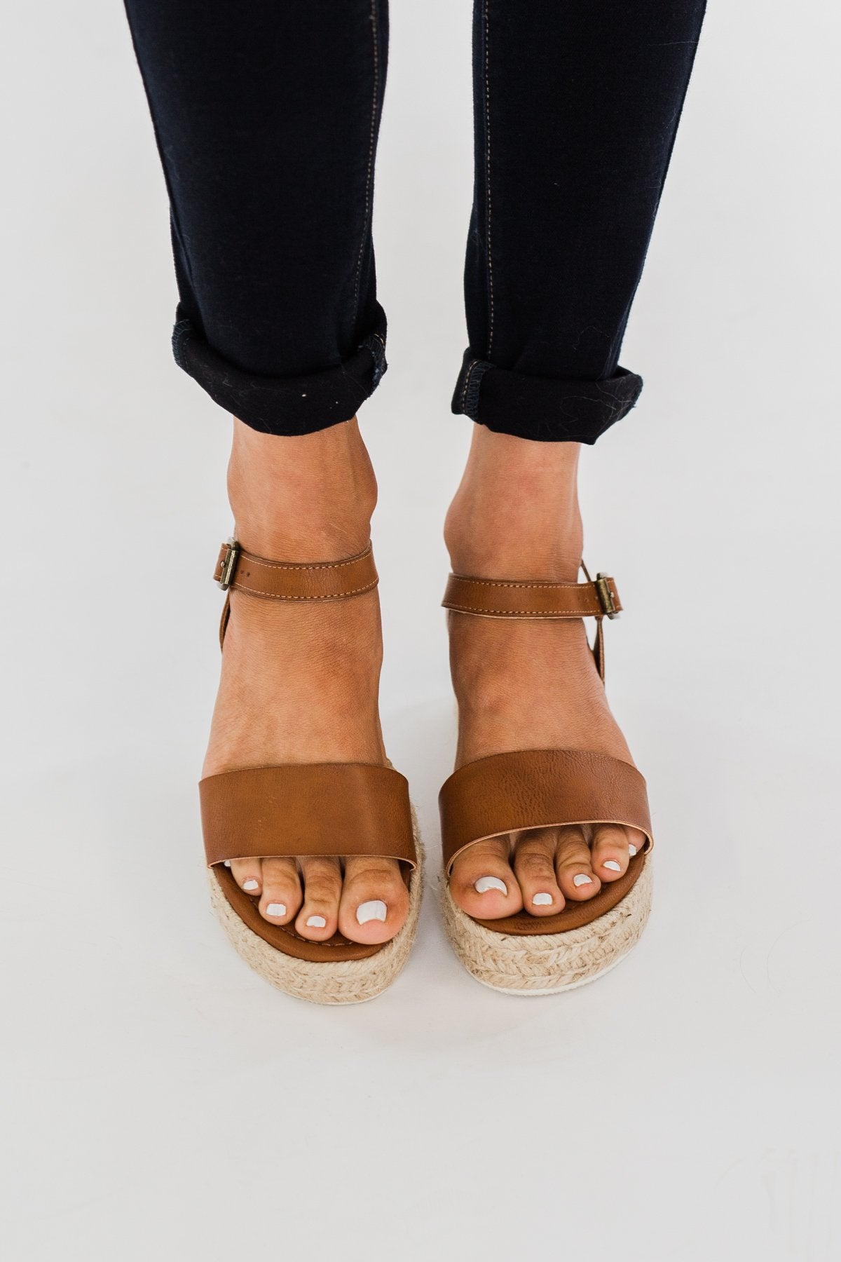Sugar Turntable Platform Wedges- Cognac