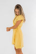 Made To Be Mine Ruffle Wrap Dress- Yellow