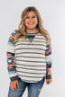 Aztec Sleeve Striped Raglan Top- Ivory & Multicolor