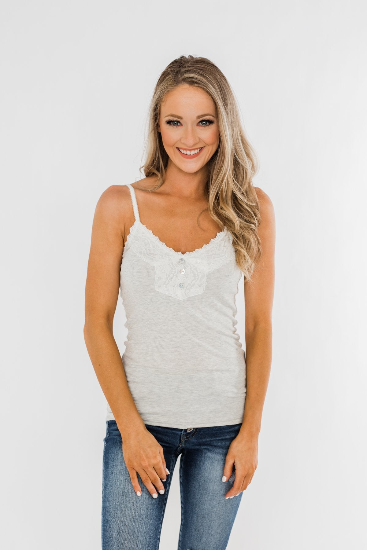 Pulse Basics Lace Trim Button Tank- Light Heather Grey