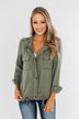 Going Places Lightweight Drawstring Jacket- Olive