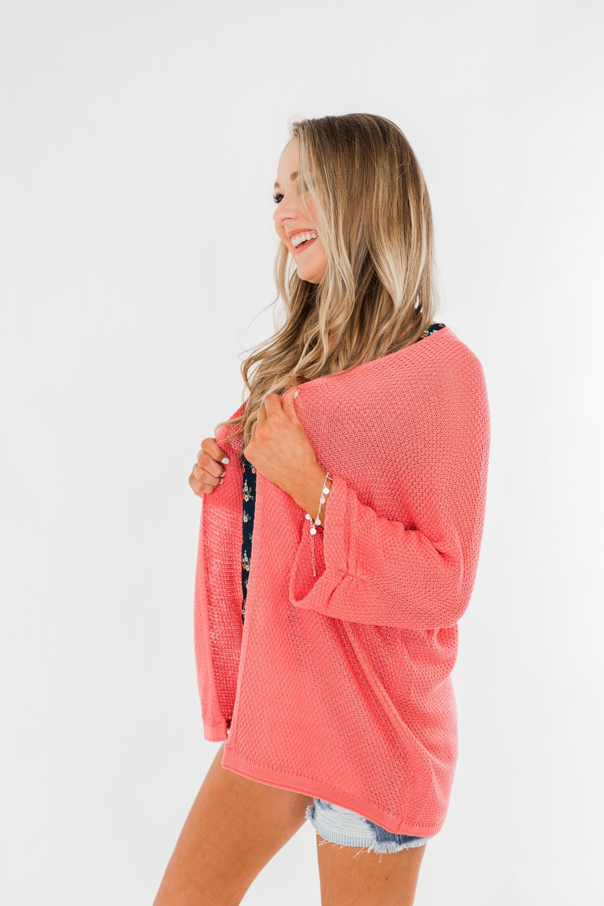 Forever On My Mind Knit Cardigan- Coral