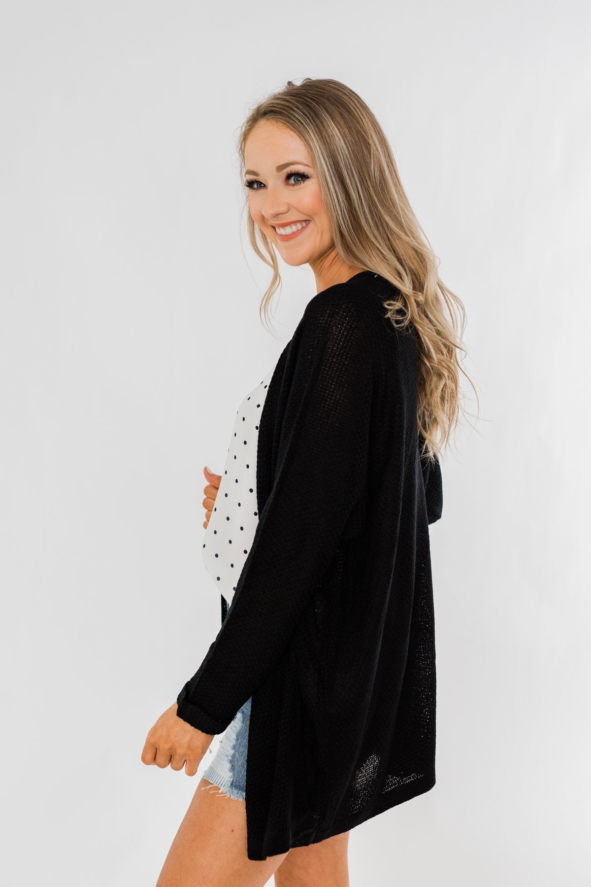 Sweet Serenity Knitted Cardigan- Black