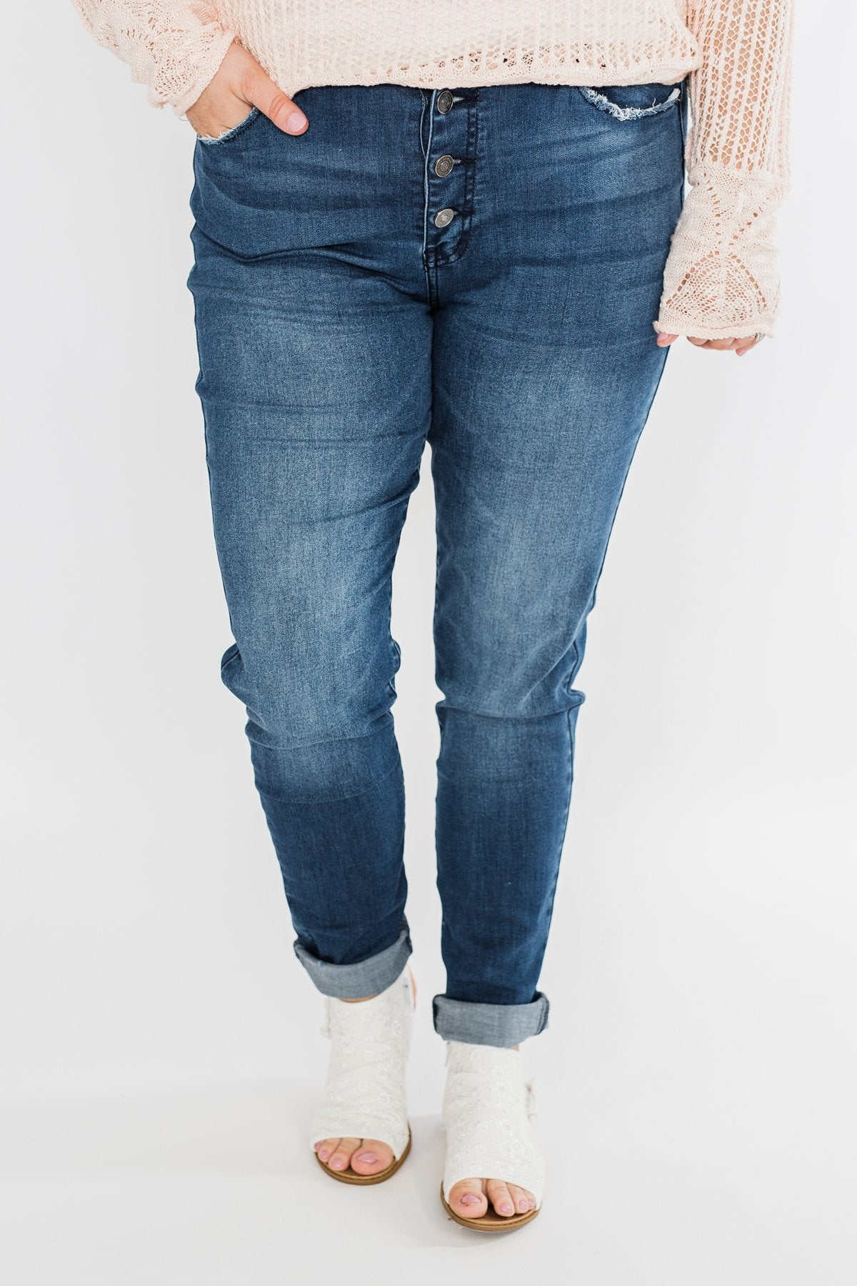 KanCan Button Fly Jeans- Kami Wash
