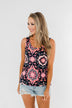 Life Of The Party Pattern Tank Top- Navy & Neon Pink