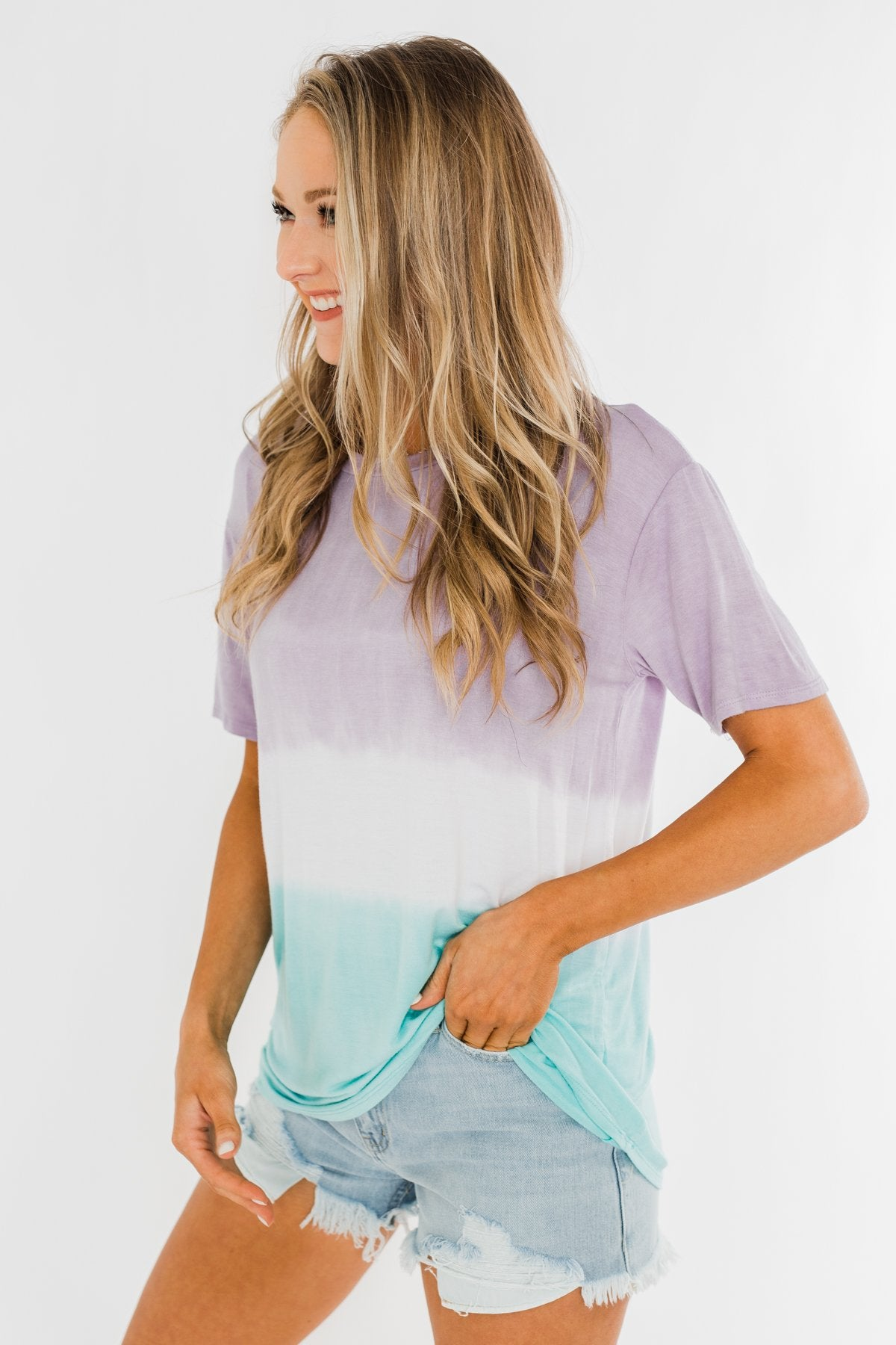Watching The Sunset Ombre Top- Purple & Blue