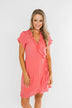 Made To Be Mine Ruffle Wrap Dress- Pink