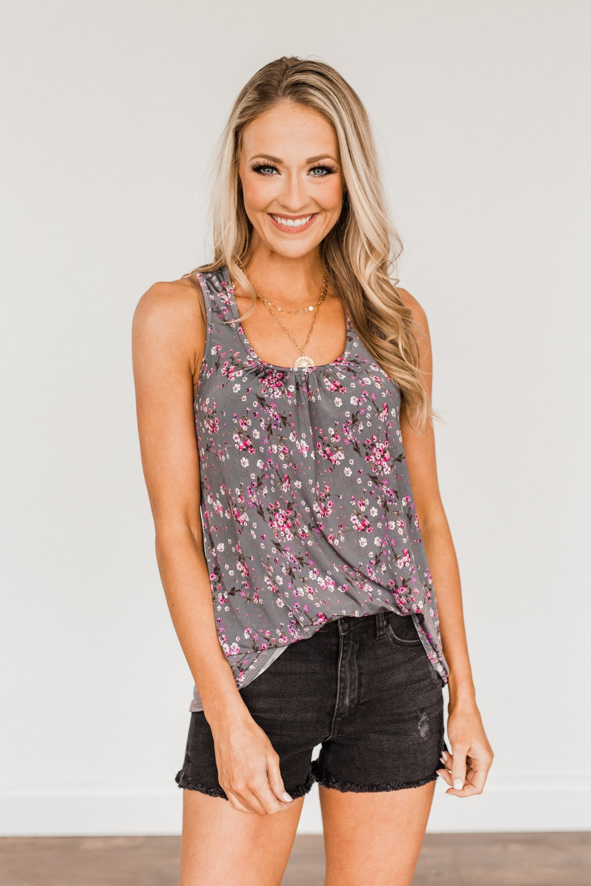 Shared Moments Floral Tank Top- Charcoal & Pink