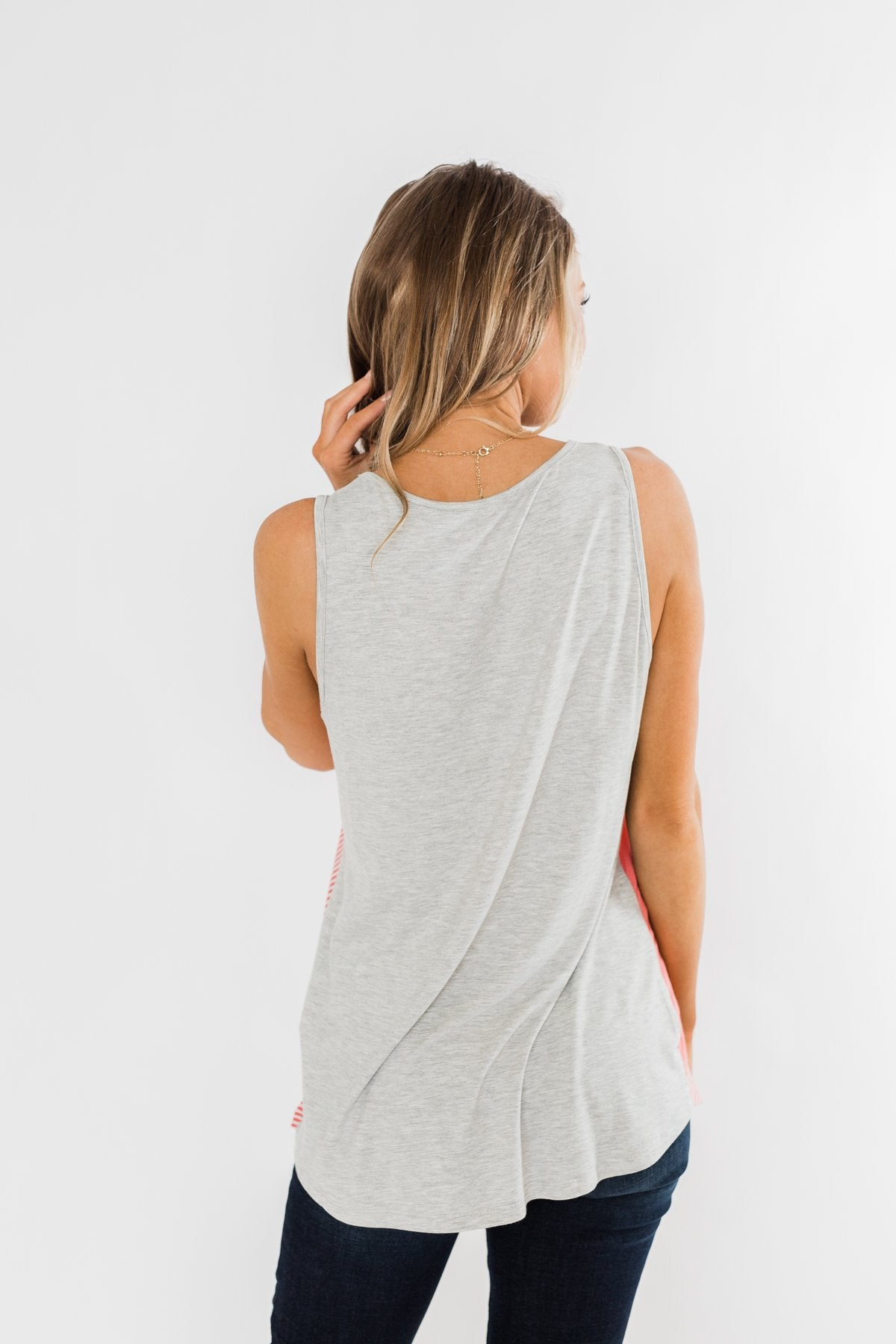 Be Somebody Color Block Tank Top- Grey & Coral