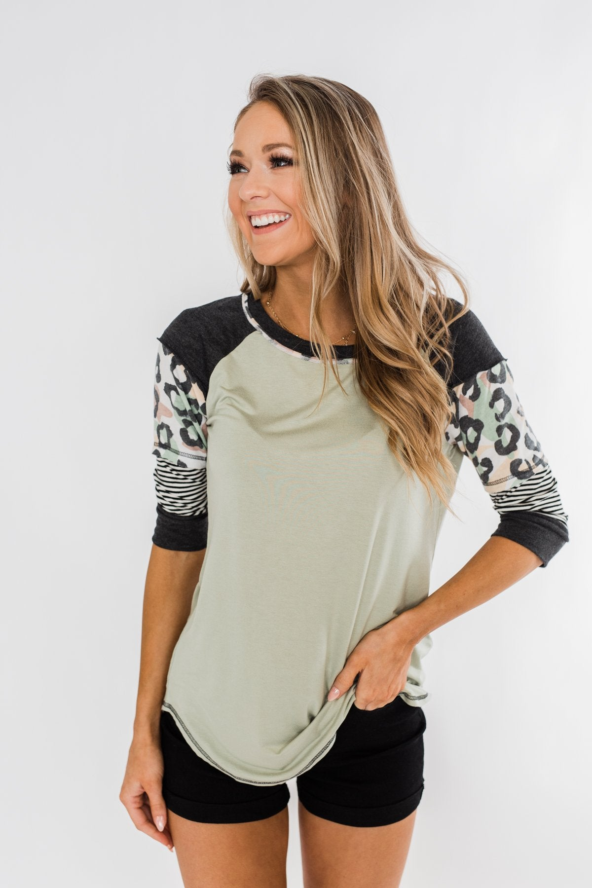Ready For An Adventure Detail Top- Sage