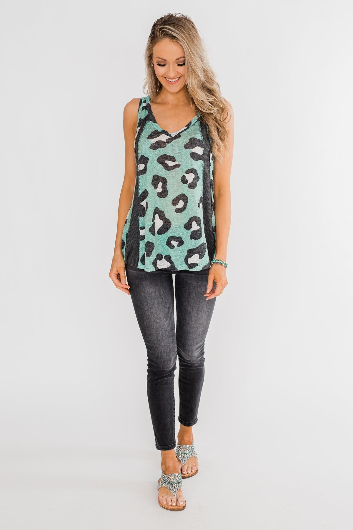 Walk On The Wild Side Tank Top- Charcoal & Teal