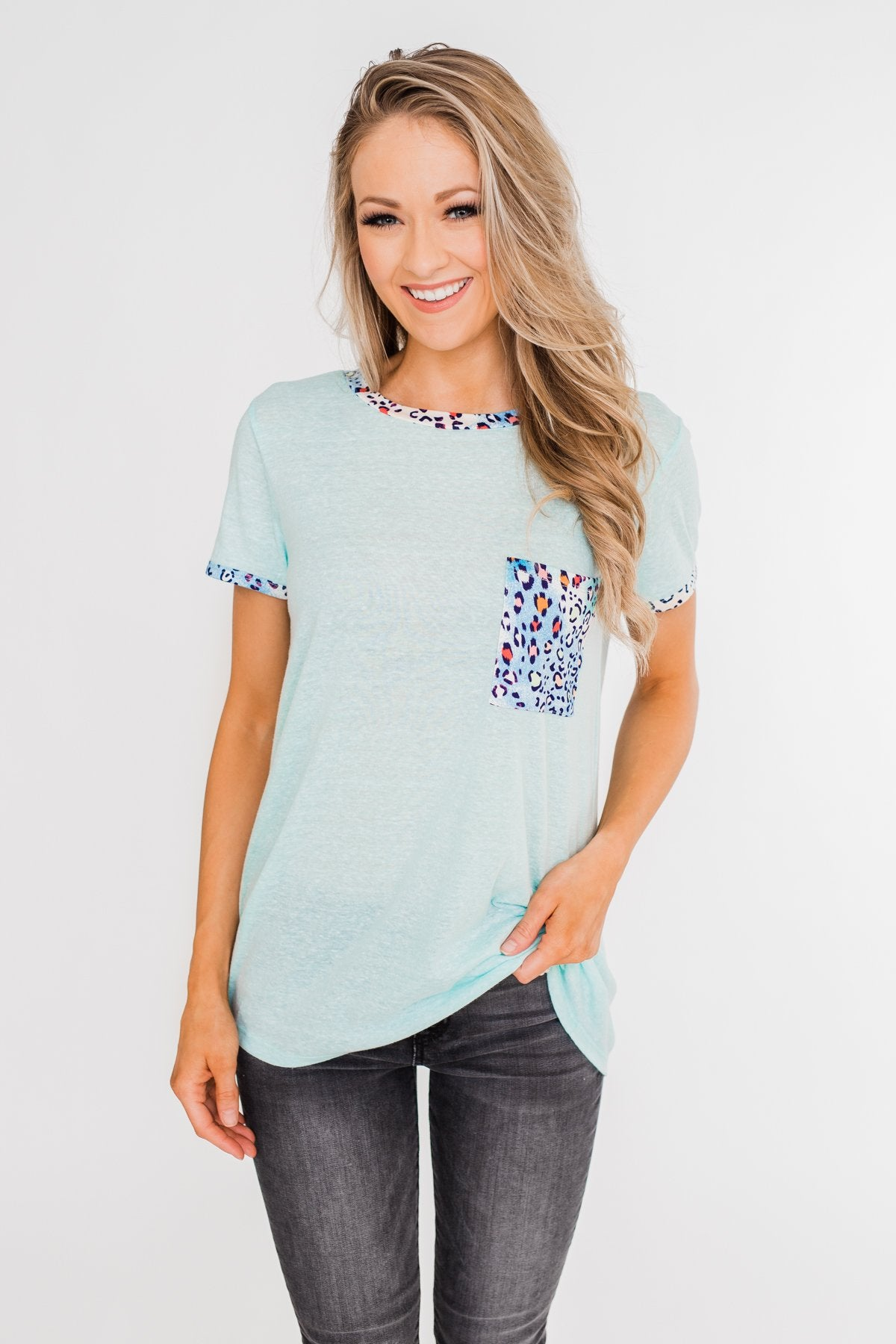 All Of A Sudden Leopard Pocket Top- Light Blue