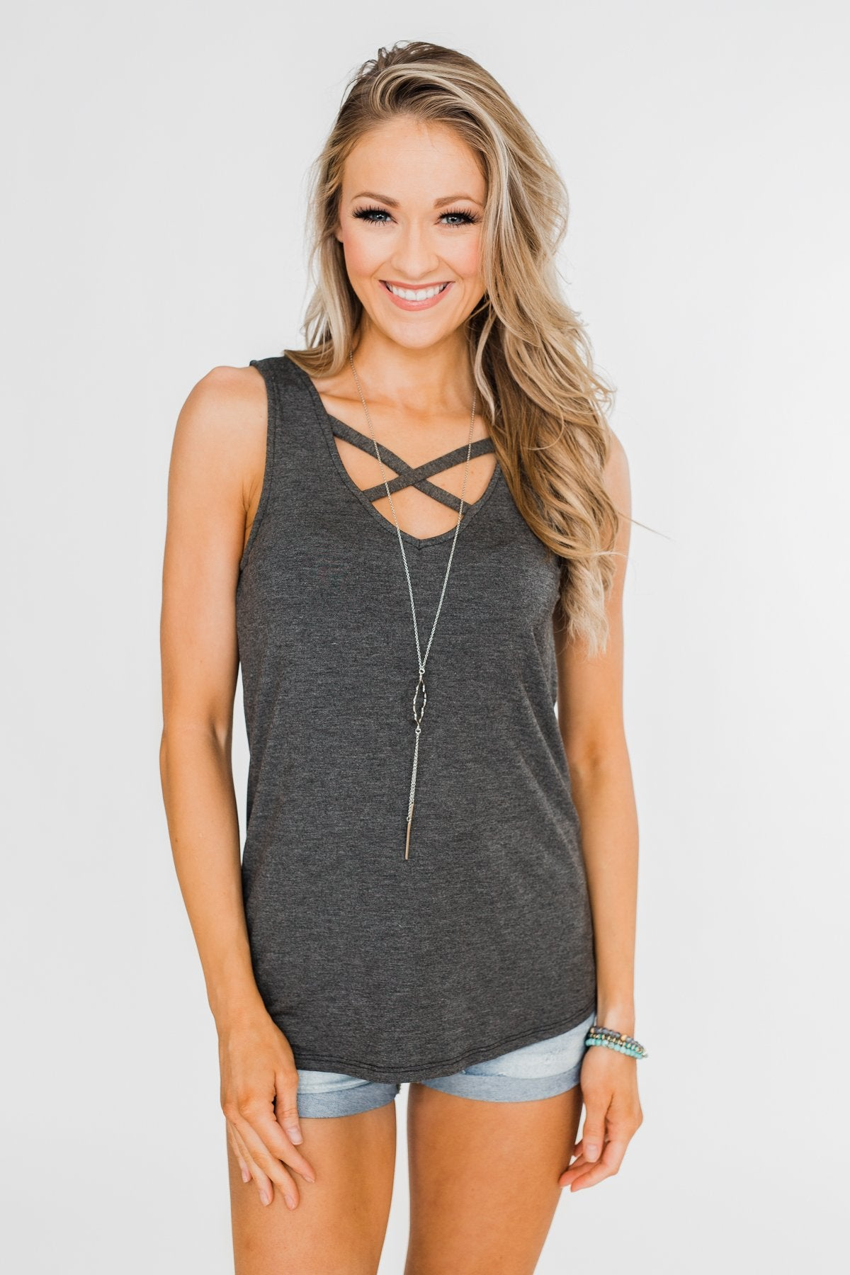 Places to Go Criss Cross Tank Top- Charcoal