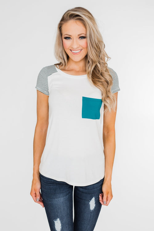 Take Me There Striped Sleeve Pocket Top- Teal